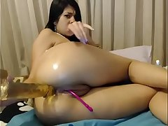 Hot slut fucked imperceptive dildo in wet ass live operate for unconforming