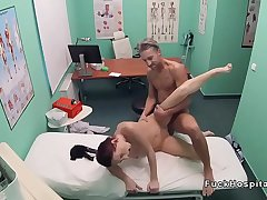 Fake doctor fucks amateur in bathroom