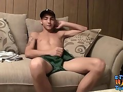 Wasting away straight guy facializes himself after jerking off
