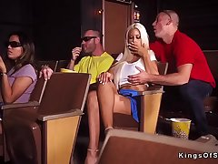 Huge jugs blonde cheating convenient rub-down the cinema