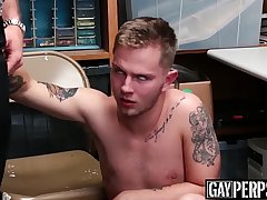 Inked shoplifter cums hard while being fucked raw and deep