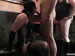 Femdom wife uses crossdresser and let some guys gangbang him