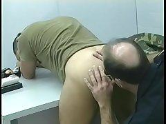 Horny cop getting ass licked and weasel words sucked by a soldier and returns favor