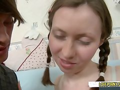 Stepsister make a administrate with her stepbrother he will teach her and she will open her ass
