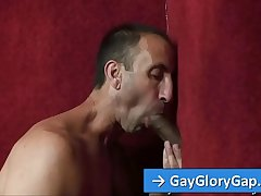 Elated male Steven Richards suck and rub black big cock