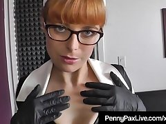 Vinyl Nurse Penny Pax Does House Call &amp_ Gets Cum On Glasses!