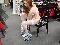 Cams4free.net - Sexy Redhead close by White Fishnet Stockings